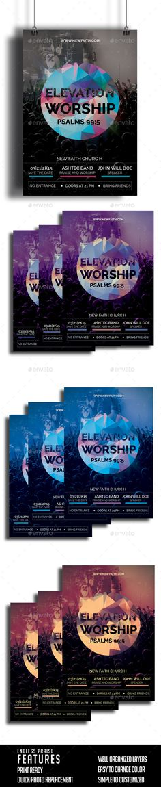 Buy Elevation Worship Church Flyer by ReinDesignStudio on GraphicRiver. This flyer is perfect for promoting your church upcoming conference or concert. Details Layers are all well organized. Graphic Design Cv, Worship Night, Flyer Size, Modern Church, Concert Flyer, Event Flyers, Church Design, Flyer Design Templates, All Fonts