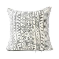 "EYES OF INDIA 24"" White Black Decorative Block Print Cushion Floor... ($25) ❤ liked on Polyvore featuring home, home decor, throw pillows, black and white toss pillows, black and white throw pillows, black white throw pillows, black and white accent pillows and black white home decor"