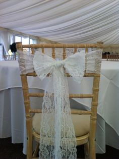 White lace chair bow by CliffsCushions. Matches hessian and white lace range perfectly. Wedding Bunting, Wedding Decorations, Table Decorations, Chair Bows, Hessian, White Lace, Range, Curtains, Home Decor