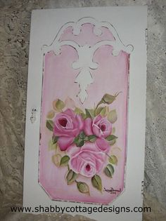 Beautiful Vintage panel hand painted with roses.