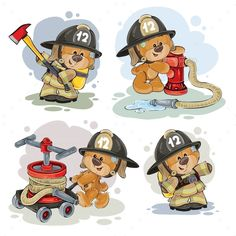 Clipart illustration of a teddy bear firefighter with rescue equipment, hose, hydrant and in uniform isolated on white. Polygraphy