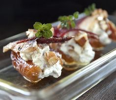 Simply delicious............ Goat Cheese-stuffed Dates with Duck Prosciutto