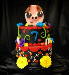 We had so much fun with this #bookoflife inspired cake!! #collaboration #teambrittney #chuy #custom #cake #bookoflife #fondant #edible #art #cakery #parkave #sinful