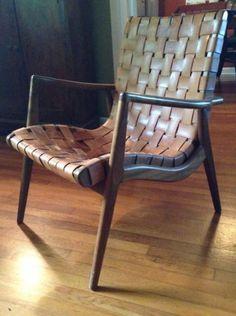 Original Mel Smilow Smilow Thielle Woven Leather Lounge Chair RARE Mid Century   eBay