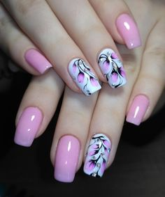 35 Best Spring Nail Art Designs You Must Try – Nails Summer – Fall – Spring – Winter Cute Pink Nails, Pink Nail Art, Acrylic Nail Art, Purple Nails, Pink Nail Designs, Short Nail Designs, Nail Designs Spring, Nail Art Flowers Designs, Pretty Nail Art