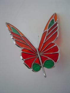 3D STAINED GLASS BUTERFLY - flame couloured - (red, orange, yellow flecked) - hand-made