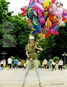 (uk marie claire) girl and balloons via