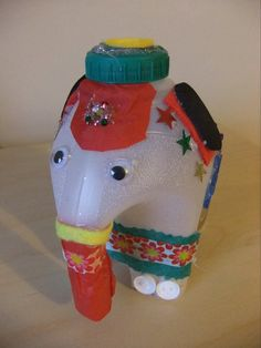 Elmer the Elephant from a milk bottle - just decorate! Gloucestershire Resource Centre http://www.grcltd.org/scrapstore/