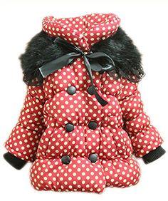 Cute Children Kids Coat Baby Girls Warm Hooded Coat Dot Princess Jacket Clothes