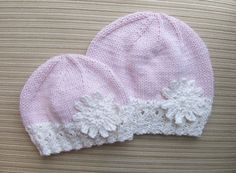 Ravelry: Pink Hat with a White Border and a Large Snowflake in Sizes Months and Years pattern by Elena Chen Baby Hats Knitting, Baby Knitting Patterns, Baby Patterns, Knitted Hats, Crochet Hats, Crochet Snowflakes, Snowflake Pattern, Pink Hat, Weaving Patterns
