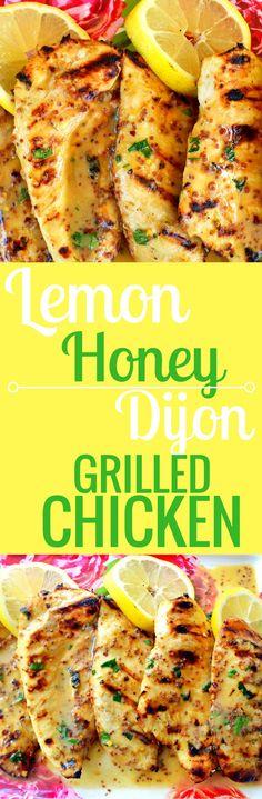 Lemon Honey Dijon Grilled Chicken made with fresh lemon juice, dijon mustard, olive oil, honey, and herbs and spices. www.modernhoney.com