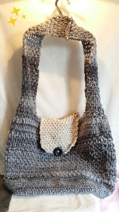 Large hand crocheted bag.