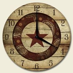 Western Rodeo 12-inch Decorative Wood Wall Clock by Highland Graphics,$22.99