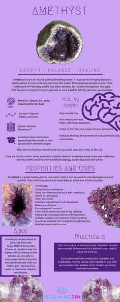 Amethyst the all-round balancing healer. Learn more about this stone and see our fantastic Amethyst products by clicking the image