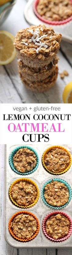 Easy Lemon Coconut Baked Oatmeal Cups...vegan, gluten-free, and no sugar or oil! The perfect on-the-go breakfast or healthy snack.