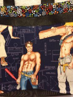 Shirtless construction men /music handmade tote OC High School of the Arts OShop