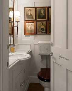 English Bathroom...but I like the look of the sink hanging over, probably easier to wash face with this style.