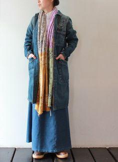 [KAPITAL KOUNTRY] 12ozDenim HandPaisley Damaged ShopCoat - takanna.com #fashion #kapital #coat