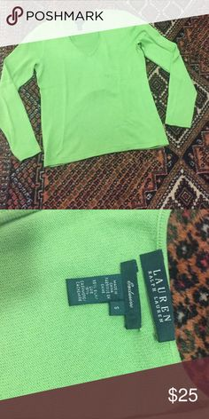 Lime green silk/cashmere Ralph Lauren sweater 85% silk 15% cashmere Lauren Ralph Lauren Sweaters V-Necks