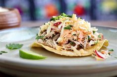 Lime Pulled Chicken Tostadas With Coleslaw