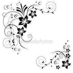 Vektor virág sarok. Fekete virágok fehér háttér. Virágos meghívó. Háttér-virágos elemekkel — Stock Vector #108813162