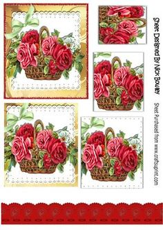 Basket of vintage roses with bow pyramids on Craftsuprint designed by Nick Bowley - Basket of vintage roses with bow pyramids, makes a pretty card, can also be seen in 8x8 - Now available for download!