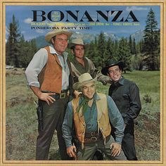 """Bonanza"" with Dan Blocker as Eric ""Hoss"" Cartwright, Michael Landon as Joseph ""Little Joe"" Cartwright, Pernell Roberts as Adam Cartwright & Lorne Greene as Ben Cartwright..."
