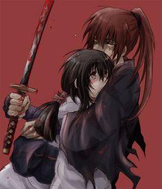 Rurouni Kenshin: Himura Kenshin and Yukishiro Tomoe Rurouni Kenshin, Kenshin Anime, Manga Anime, Anime Art, Anime Kimono, Otaku Anime, Kenshin Le Vagabond, Era Meiji, Dramas