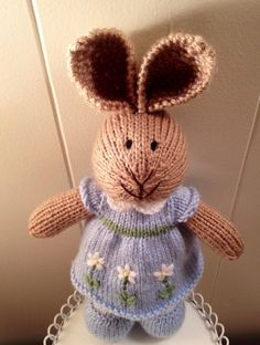 Adorable Knit Bunny Wearing a Darling Dress by TheSugarbunnyShop