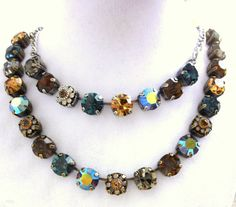 11mm Swarovski crystal necklace, choose your length,  topaz and blue, better than sabika, GREAT PRICE on Etsy, $30.00