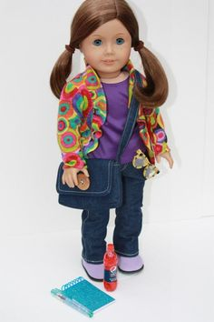 """American Girl Doll Clothes--Just Write--cardigan, long sleeve tee, jeans, boots, messenger bag, notebook, pen, """"soft drink"""", glasses."""