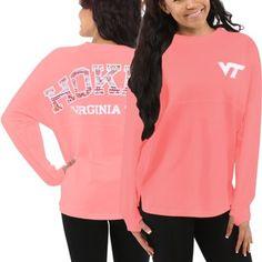 Women's Virginia Tech Hokies Orange Aztec Sweeper Long Sleeve Oversized Top