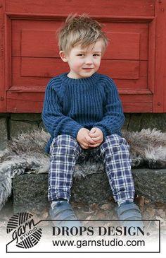 Perkins / DROPS Children 30-9 - Gestrickter Pullover mit falschem Patentmuster und Raglanärmeln für Kinder. Größe 2 - 12 Jahre. Die Arbeit wird gestrickt in DROPS Baby Merino.