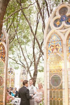 stained glass windows outdoor ceremony