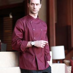 Red Professional Chef, White Long Sleeve, Mens Suits, Double Breasted, Chef Jackets, Overalls, Trousers, Sleeves, Cotton
