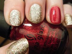 Sally Hansen Xtreme - Golden-I with Color Club - Gingerbread and China Glaze - Ruby Pumps #nails #mynails