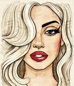 lady gaga love beauty drawing Illustration red girl cute fashion beautiful painting style indie Model draw eye kiss models lips blonde princess paris retro girly long hair lipstick paint hairstyle blond chanel