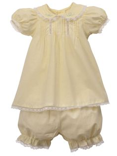 NEW Remember Nguyen (Remember When) Vintage Style Yellow Dress and Bloomers with Pintucks, Lace Insertion, and Embroidery $40.00 #NewbornTakeHomeOutfit #PreemieTakeHomeOutfit
