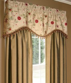 In plum  Embroidered Floral Scalloped Valance
