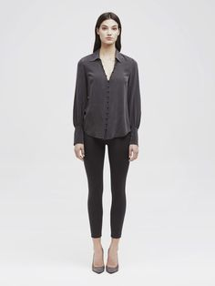 Feminine, silk crepe de chine is softly tailored into a slim fitting blouse with a Victorian nod, detailed by blouson sleeves with exaggerated cuffs and covered buttons with loop closures down the front placket. Silk Crepe, Covered Buttons, Silk Top, Blouses For Women, Bodysuit, Normcore, Feminine, Fabric, Sleeves