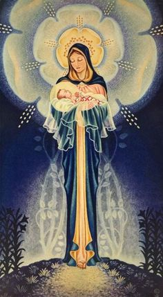 Our Lady and Baby Jesus Blessed Mother Mary, Divine Mother, Blessed Virgin Mary, Religious Pictures, Religious Icons, Religious Art, Jesus Jose Y Maria, Images Of Mary, Queen Of Heaven