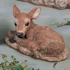 Sleeping Fawn by Henri Studio : Apollo Statuary: Statues, pedestals, planters, fountains, and much more! Deer Statues, Outdoor Statues, Animal Statues, Ceramic Animals, Decorative Accessories, Moose Art, Planters, Sleep, Studio