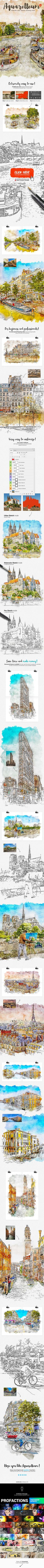 Aquarelleum - Urban Sketcher Photoshop Action - Photo Effects Actions artistic,artwork,atn,brush,creative,design,digitalart,draw,drawing,effect,modernart,paint,painting,pen,pencil,photomanipulation,professional,sketch,sketcher,sketching,tutorial,urban,watercolor