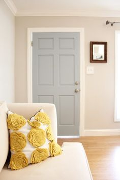 Loving color scheme - bedroom    Door Paint: Benjamin Moore Wedgewood Gray at150% --- want to use in master bath or dining room or maybe both!