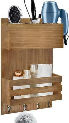Diy Hair Dryer Holder, Hair Dryer Organizer, Hair Dryer Storage, Home Depot Bathroom, Slatted Shelves, Best Hair Dryer, Professional Hair Dryer, Tool Organization, Bathroom Shelves