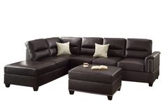 Poundex Bobkona Toffy Bonded Leather Left or Right Hand Chaise Sectional with Ottoman Set, Espresso Best Sectional Couches, 3 Piece Sectional Sofa, Living Room Sets, Living Room Modern, Living Room Designs, Small Office Furniture, Living Room Furniture, Lounge Furniture, Furniture Ideas