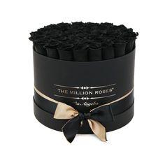 medium round box - black - black ETERNITY roses black eternity roses - the million roses Flower Box Gift, Flower Boxes, Black Box, Black Rose Bouquet, Black Roses, The Million Roses, Rose Delivery, Box Roses, Preserved Roses
