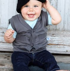 Grey Knit Button Down Vest - RuggedButts™ Baby Boys - Events