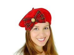 Beret Hat Red Beret Hat Gifts For Her Women's by JuicyBows on Etsy