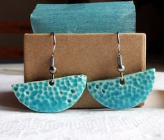 Light blue dangle earrings with dots  Handmade ceramic by Skelini, $18.00